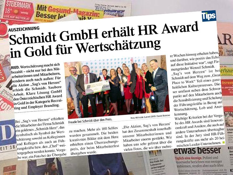HR Award in GoldPressebereicht in TipsAuszeichnung für Wertschätzung