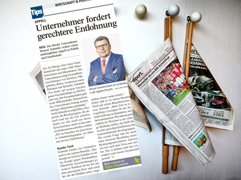 Wenzel Schmidt fordertgerechte EntlohnungAppell an die Gesellschaft