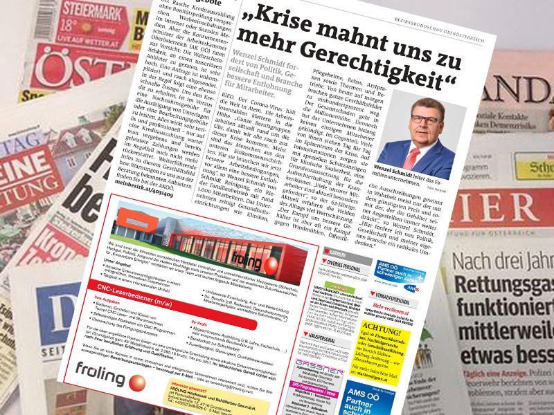 """Pressebericht Bezirksrundschau """"Wenzel Schmidt zur Coronakrise"""""""