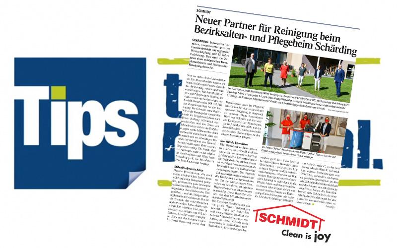 Pressebericht TIPSSchmidt neuer Reinigungspartner beim Seniorenheim Schärding