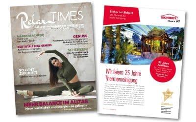 Schmidt feiert 25 Jahre Thermenreinigung mit einem Beitrag in der Relax Times