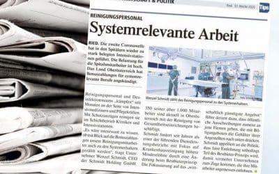 Corona Pressebericht in TipsSystemrelevante Arbeitim Krankenhaus Ried